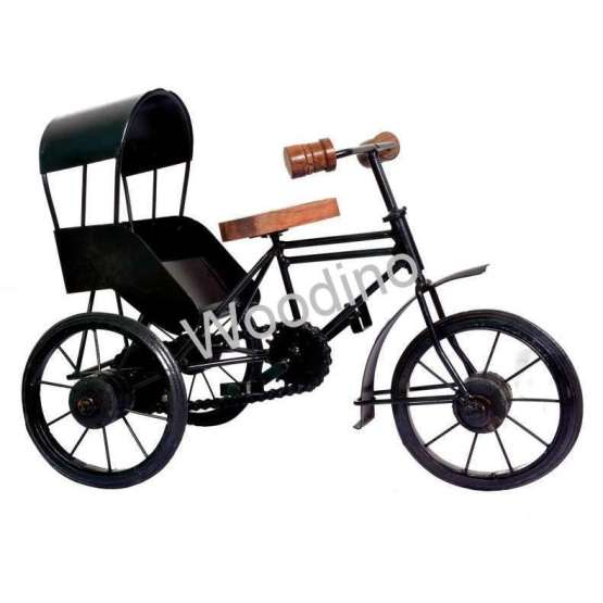 Woodino Wrought Iron & Wooden Roof Rickshaw
