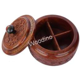 Woodino Wooden Carving Round Spice Container - 7 Inch