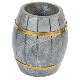 Woodino Dholak Shape Golden Strip Pen Jar