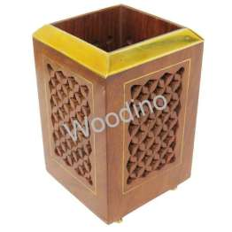 Woodino Sheesham Jali Rectangle Pen Jar