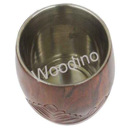 Woodino Steel Inside Carved Premium Pen Jar