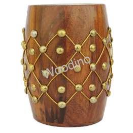 Woodino Steel Cup Inside Brass Heavy Work Pen Jar