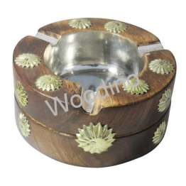 Woodino Antique Look Mango Wood Burning Round Ashtray