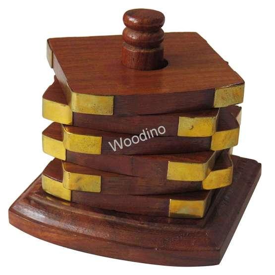 Woodino Pole Design Square Premium Coaster Set