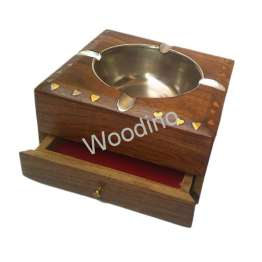 Woodino Ashtray Made of Wooden With Drawer