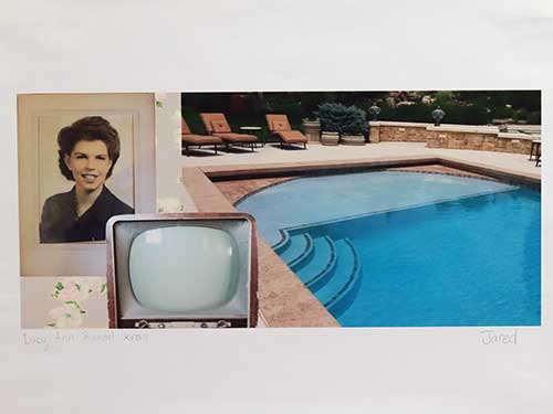 A sepia-toned hand-colored photo of a woman from the '40s; an old box TV; a swimming pool.
