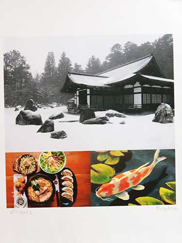 A Japanese house and surroundings covered in light snow; an array of Japanese dishes; and a painting of a koi among lily pads.