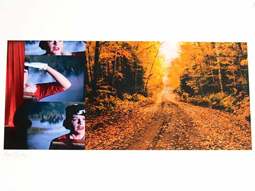 A collage of Judy Garland on the left and a leaf-strewn road on the right.