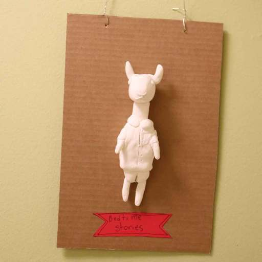 A plaster figurine of a goat from a children's story
