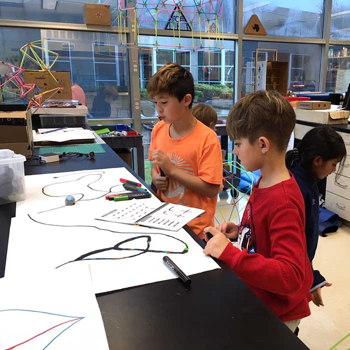 Two Lower Elementary boys work on a project in the ID Lab