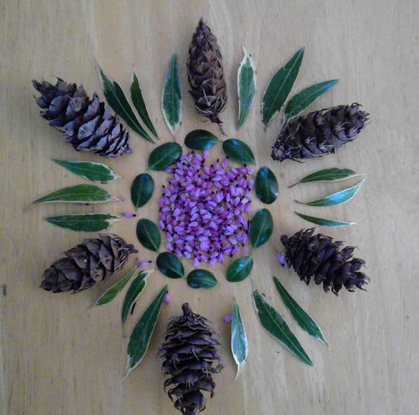 A mandala made with items from nature