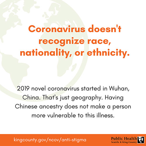 Corona virus doesn't recognize race, nationality or ethnicity