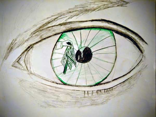 A large green eye is drawn, with a hand waving a green scarf in front of it