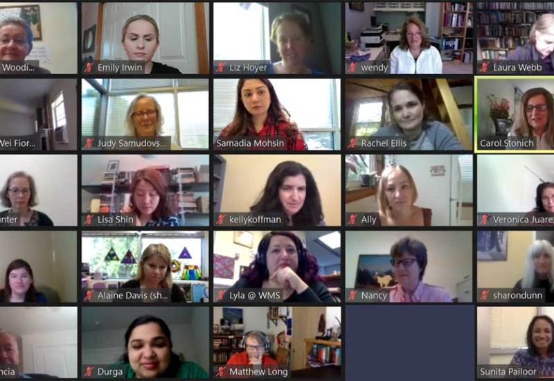 A grid of photos from a video conference