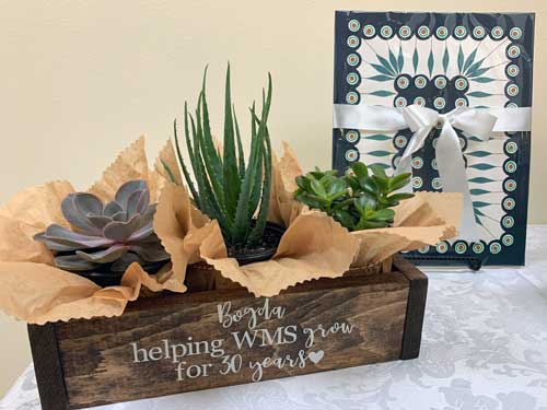 A planter with plants and a painted inscription: Bogda helping WMS grow for 30 years