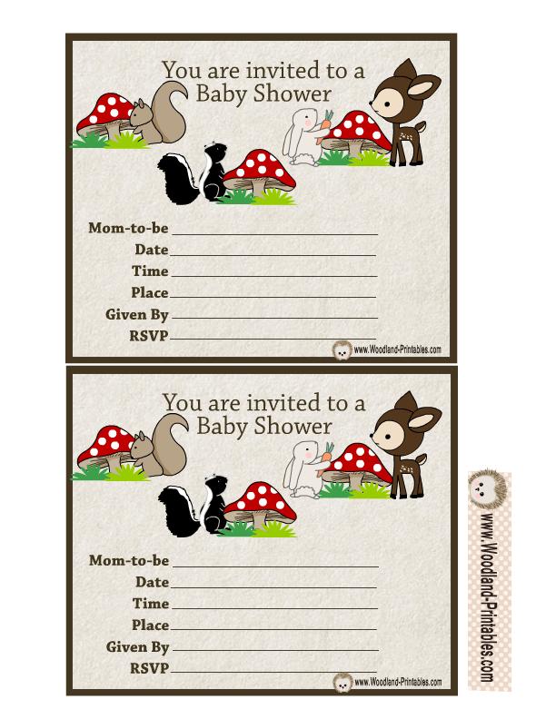 free printable woodland baby shower