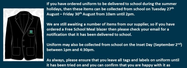 Uniform Collection Information – Summer 2019