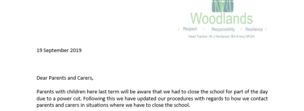 Emergency School Closure Procedure Letter
