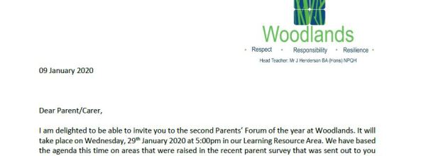 Parents Forum Letter from Mr J Henderson
