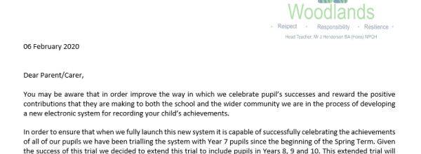 Year 8, 9 & 10 rewards system letter