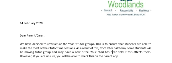 Year 9 tutor changes