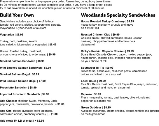woodlands sandwich menu