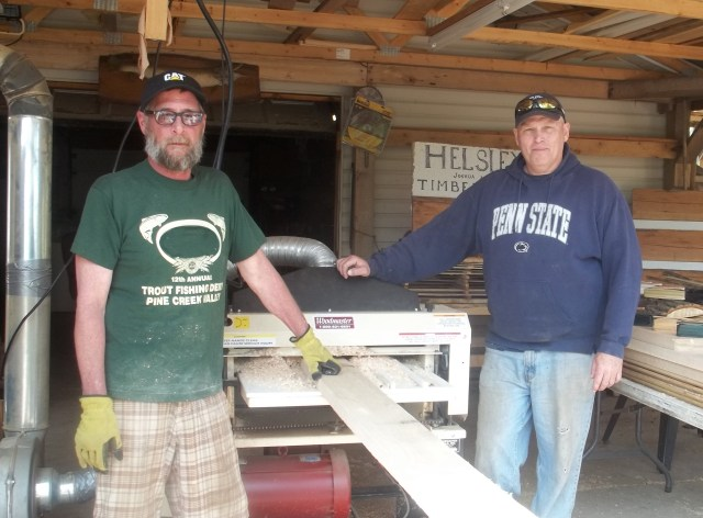 Bob (right) and his brother Dave get ready for some serious turkey call production with Bob's Woodmaster 725 at his shop in central Pennsylvania.