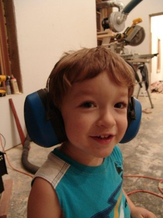 """Growing up around a """"can-do"""" dad like Mike, it's a good chance Luke, age 3, will one day be a D-I-Y woodworker, too."""