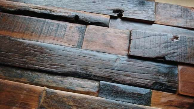 Industrial Style Wall Decor. wood wall covering tiles