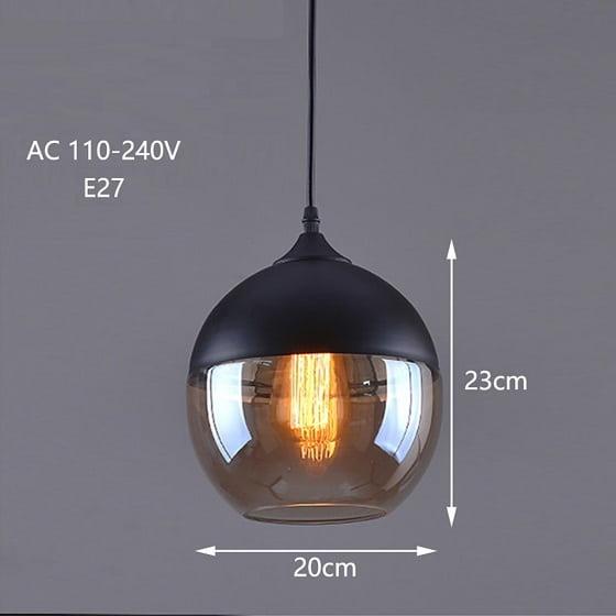 Decorative Filament Light, Amber Glass Pendant light, Glass Pendant light. Round Glass Pendant light