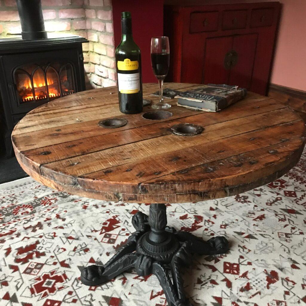 how to make cast iron cable reel tables
