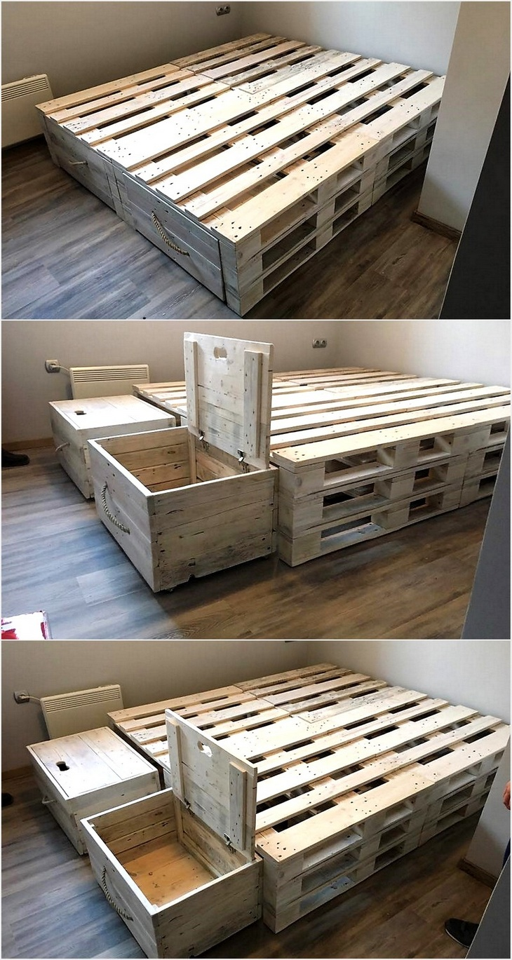 Admirable Ideas for Pallets Recycling   Wood Pallet Furniture on Pallet Bed Design  id=12126