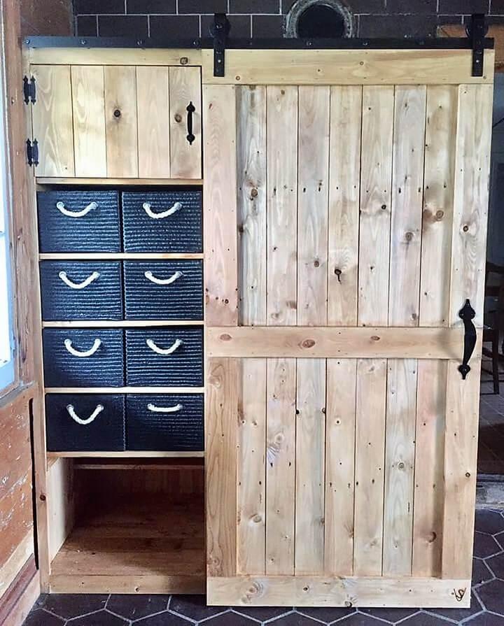 Wooden Pallets Made Closet Plan Wood Pallet Furniture