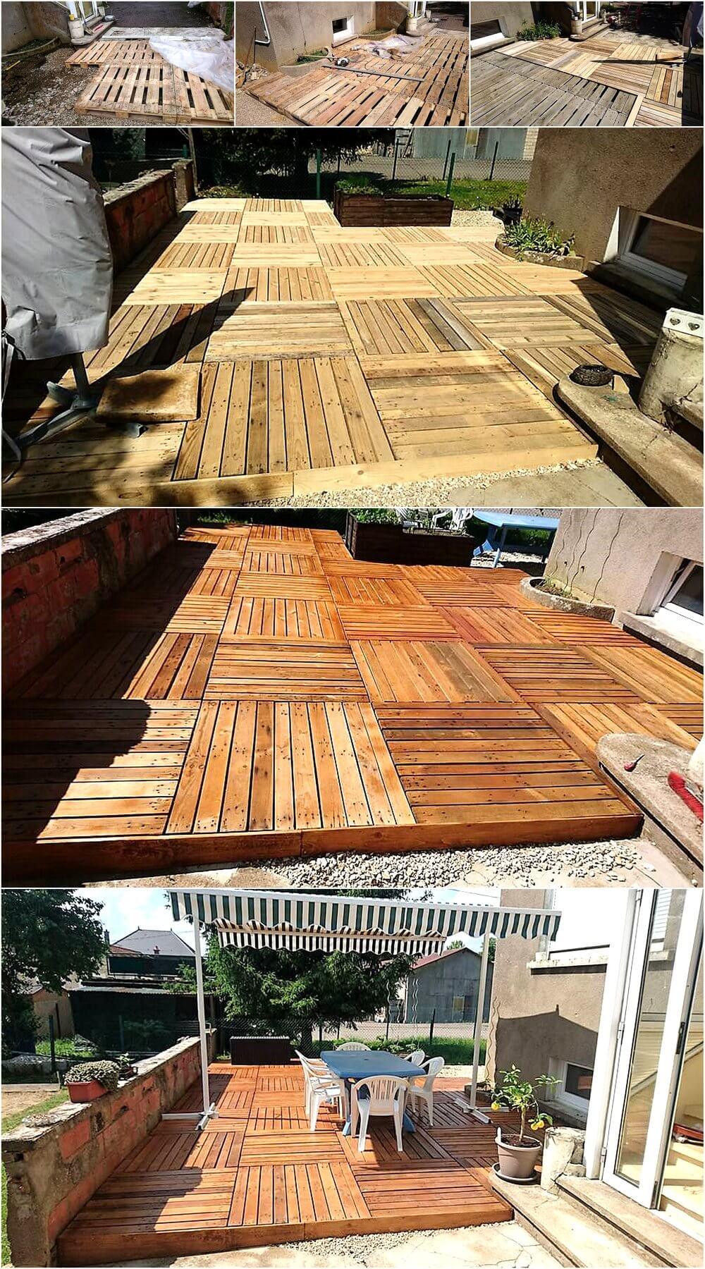 DIY Wooden Pallets Garden Terrace | Wood Pallet Furniture on Diy Garden Patio Ideas id=16897