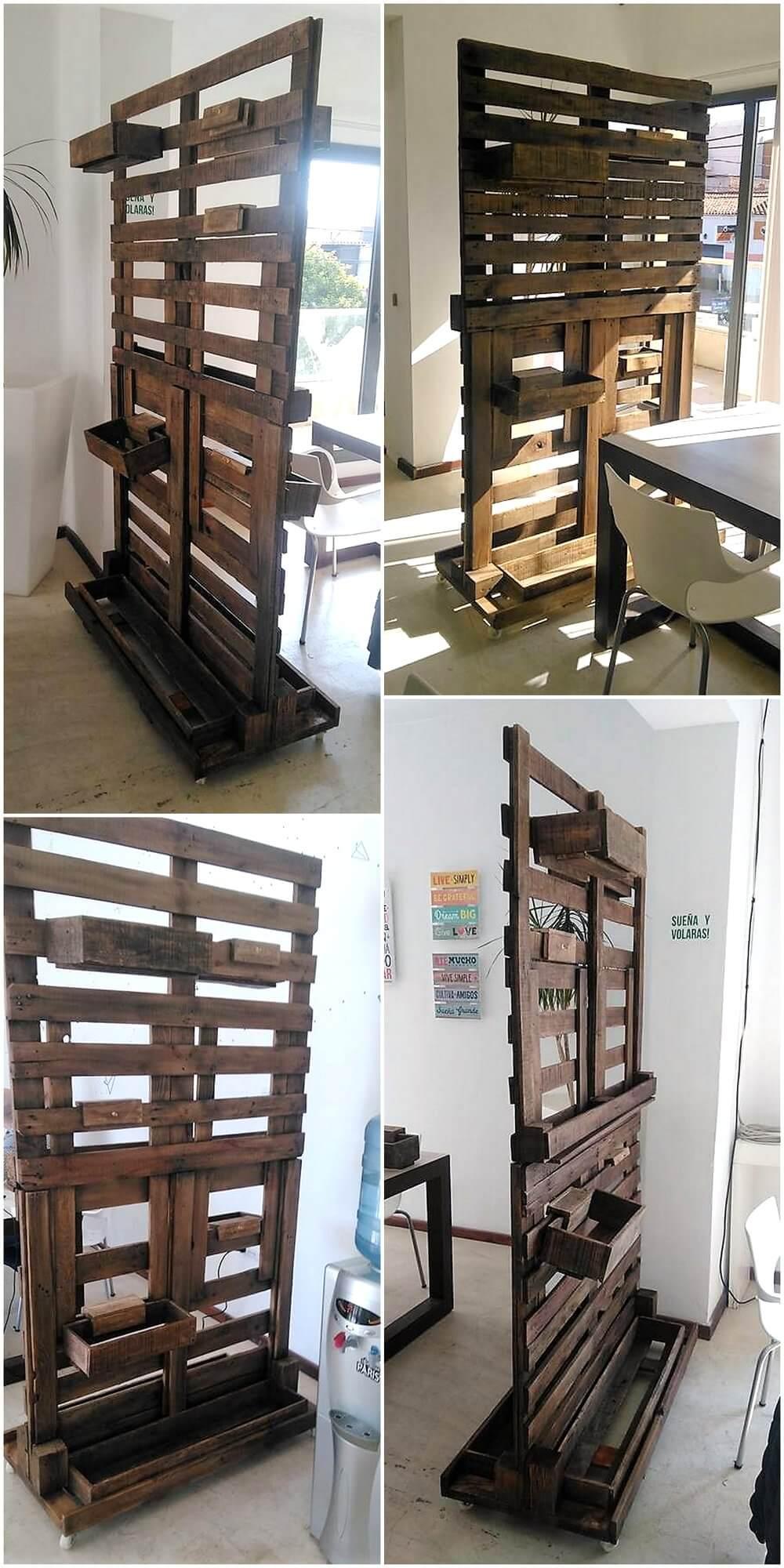 Repurposed Wood Pallets Made Room Divider Idea | Wood ... on Pallet Room  id=97069