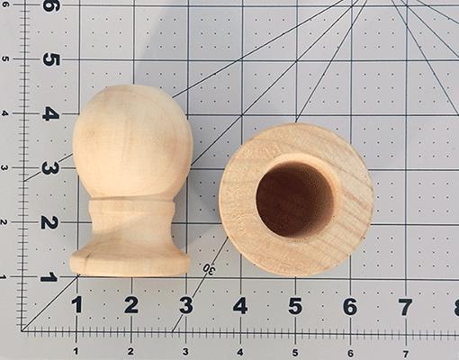 wood curtain rod finial 1 7 8 x 3