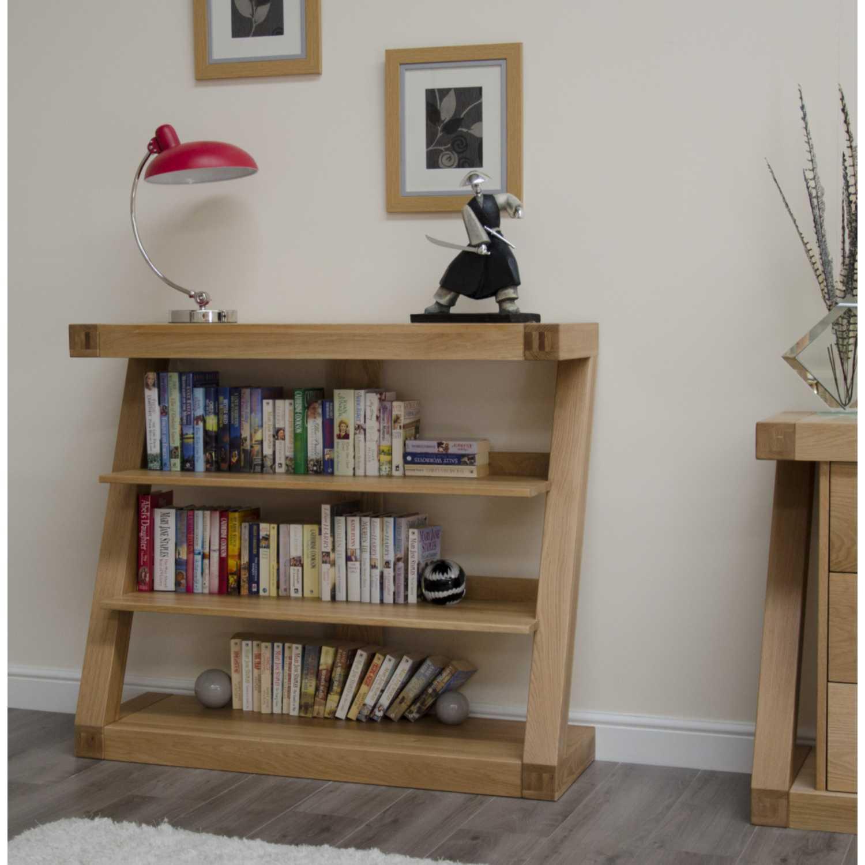 Z Shape Oak Small Bookcase Open Back Shelving Display Unit 3 Shelves