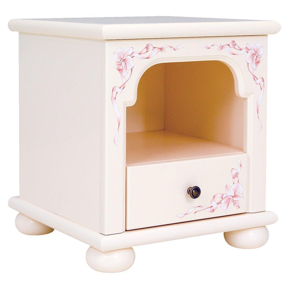light pink childrens bedside table in