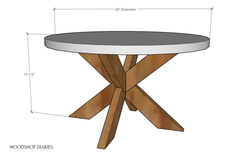 Round coffee table overall dimensions