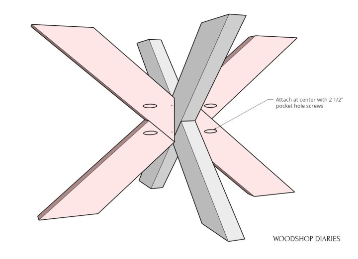 X base coffee table base assembled with pocket holes diagram