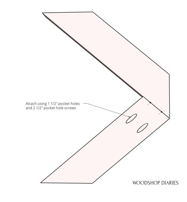 Diagram of half X to make coffee table base