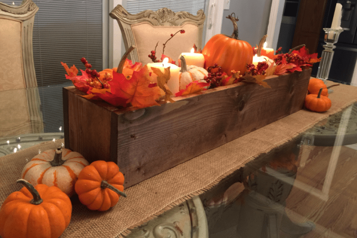 How to make a super easy fall wood centerpiece box
