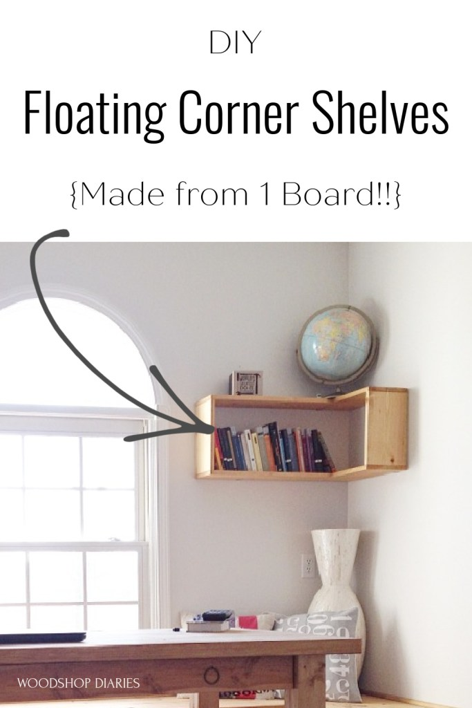 DIY floating corner shelves pin image