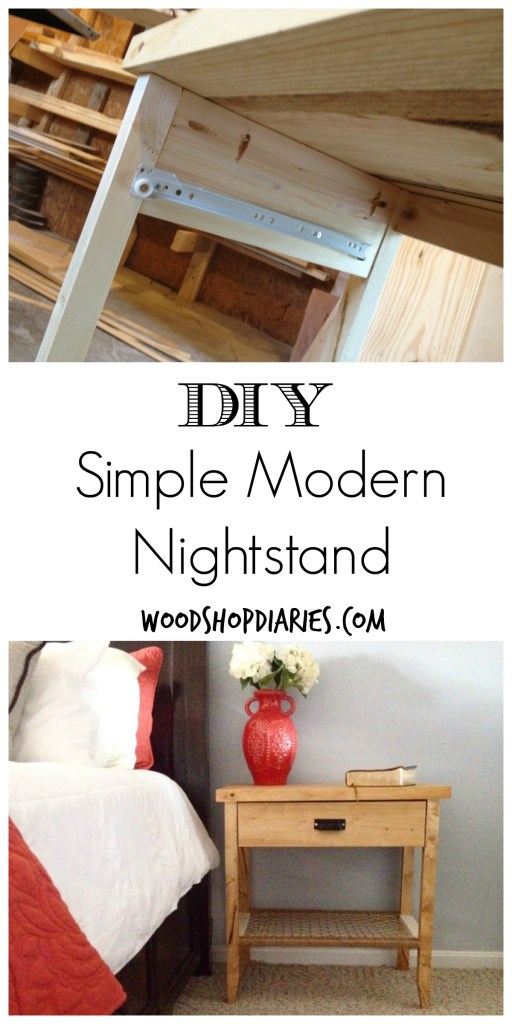 Easy to build simple modern nightstands with drawer and woven shelf--Great weekend project--Woodshop Diaries