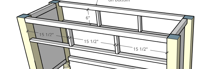 Drawer front spacing example for framed inset drawer fronts