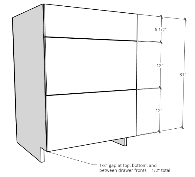 Drawer front spacing example with kitchen cabinet