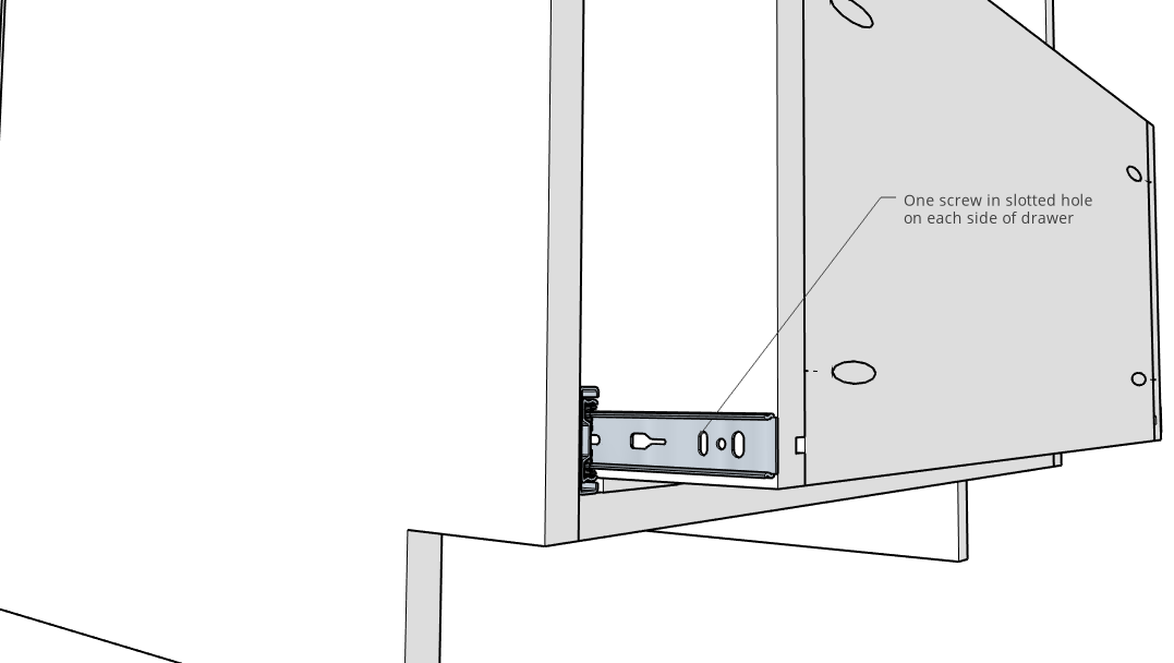 Install initial screw to attach drawers to drawer slides