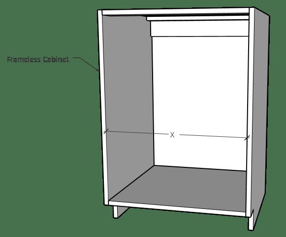 Frameless cabinet opening measurement
