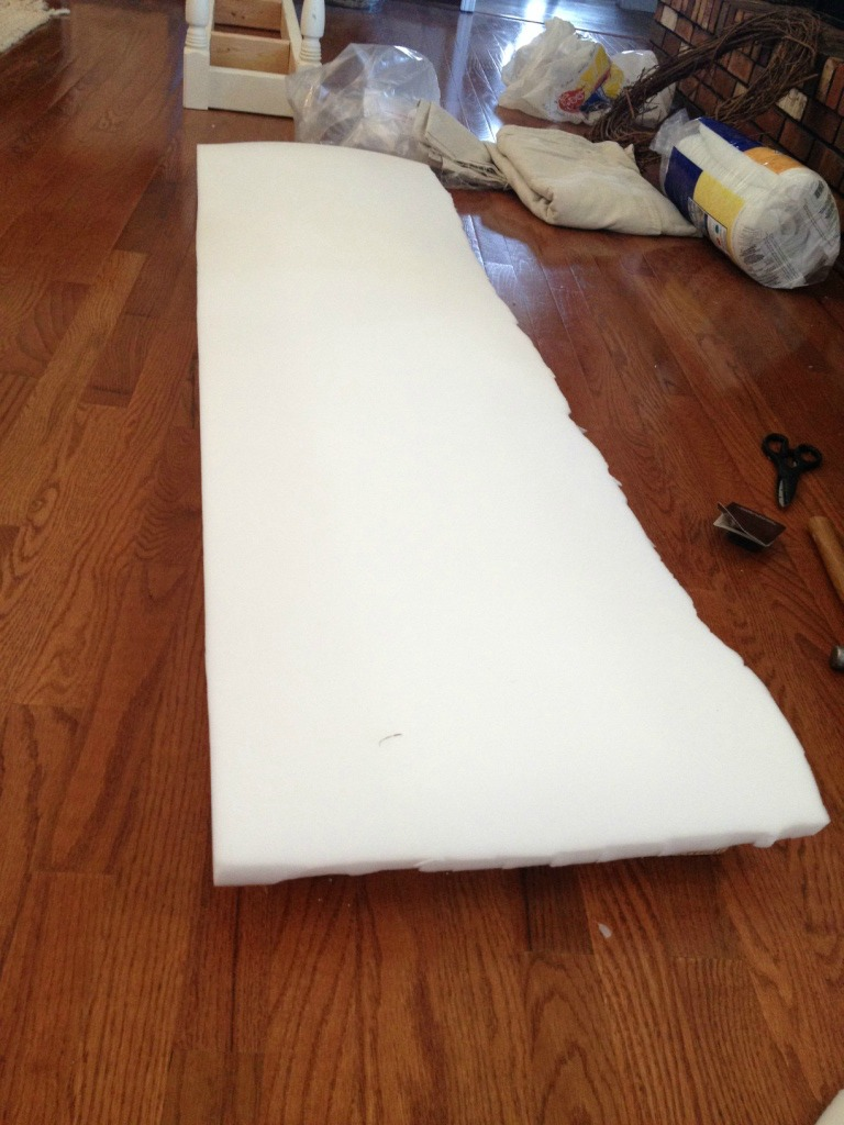 Cut foam to size to fit over bench seat