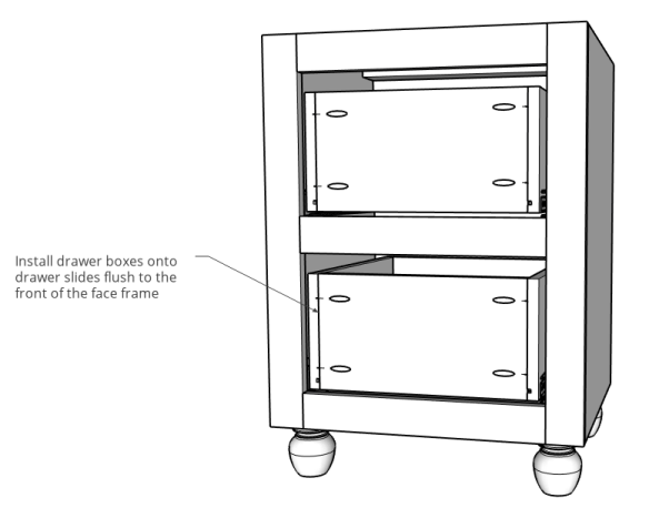 3D diagram of drawers installed into side cabinets